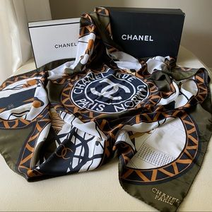 Chanel - Authentic Novelty Country Club Silk Scarf
